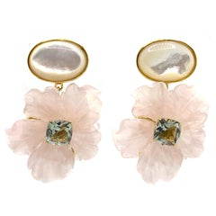 Stunning Cabochon Mother of Pearl and Carved Rose Quartz Flower Drop Earrings