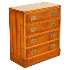 Stunning Campaign Military Yew Wood Chest of Drawers Side Table
