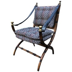 Stunning Campaign Style Chair with Faux Bamboo