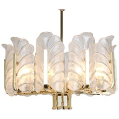 Stunning Carl Fagerlund Chandelier Murano Glass Leaves, 1960s