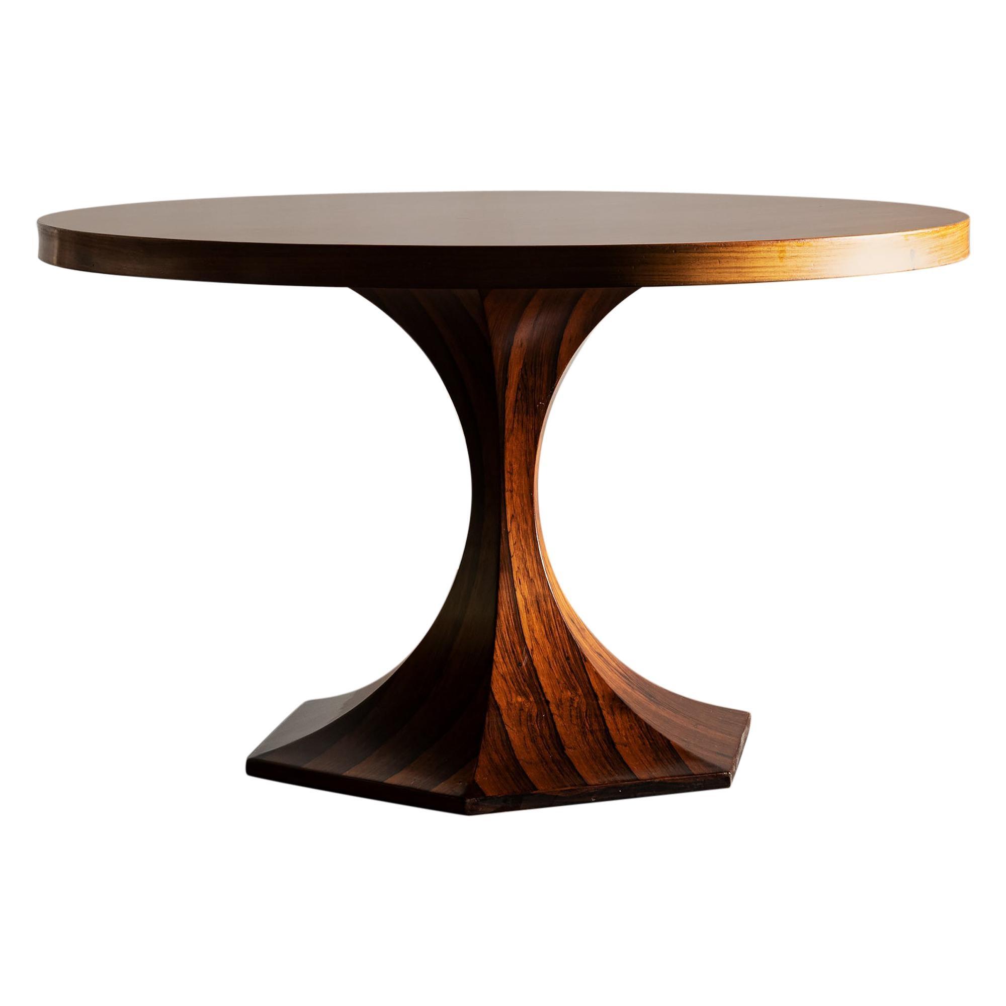 Stunning Carlo de Carli Round Rosewood Table, Italy, 1950s