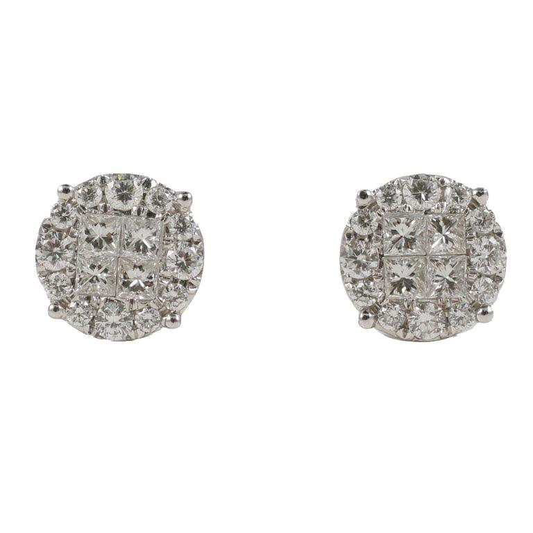 Stunning Carre and Round Diamond Earrings