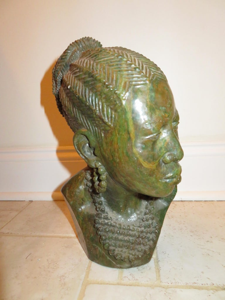 Stone Stunning Carved Verdite Sculpture James Tandi Africa Woman For Sale