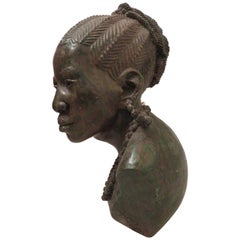 Stunning Carved Verdite Sculpture James Tandi Africa Woman