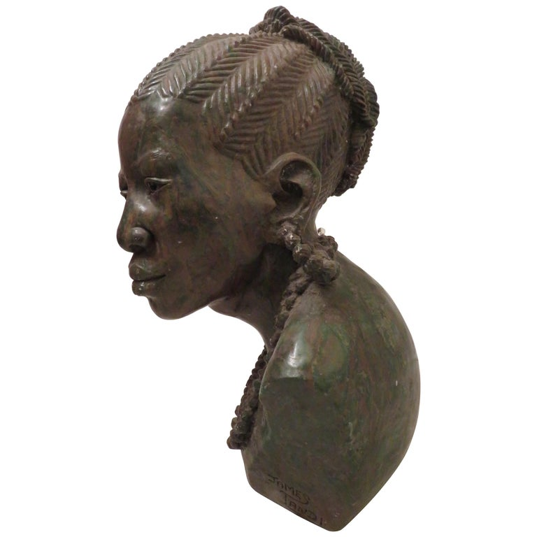 Stunning Carved Verdite Sculpture James Tandi Africa Woman For Sale