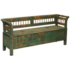 Stunning Central European Pitch Pine 19th Century Original Green Paint Bench