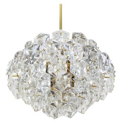 Stunning Chandelier, Brass and Crystal Glass by Kinkeldey, Germany, 1960s