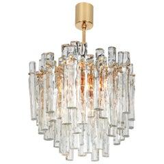 Stunning Chandelier, Brass and Crystal Glass by Kinkeldey, Germany, 1970s