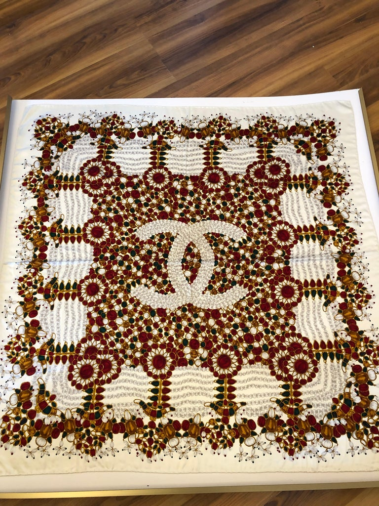 Stunning Chanel Bijoux Collection Silk Scarf 34x34 with Chanel Envelope For Sale 2