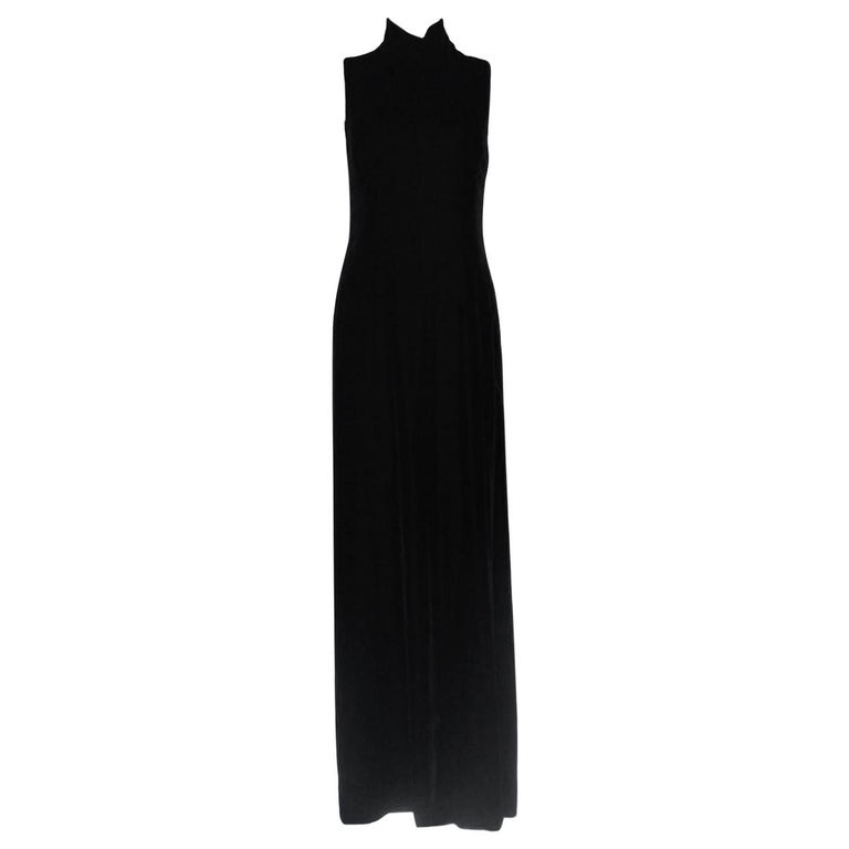 Stunning Chanel Black Velvet Evening Dress Gown with Gripoix Button Details