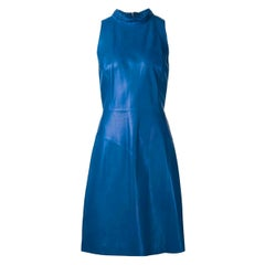 Stunning CHANEL Blue Leather Dress with Tweed Braid & CC Logo Details