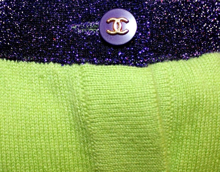 Chanel Signature Cashmere CC Logo Button Cardigan Jacket Top Twin Set For Sale 1