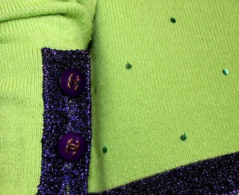 Chanel Signature Cashmere CC Logo Button Cardigan Jacket Top Twin Set For Sale 2