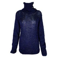 Stunning Chanel Cashmere Rock Crystal Turtleneck Knit Sweater Jumper