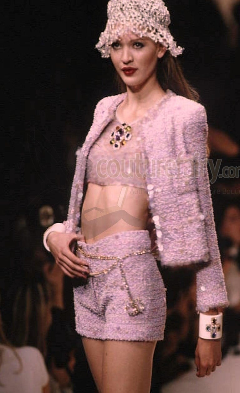 Stunning Chanel Fantasy Tweed Sequins Hot Pants Shorts Suit with CC Logo Buttons For Sale 5
