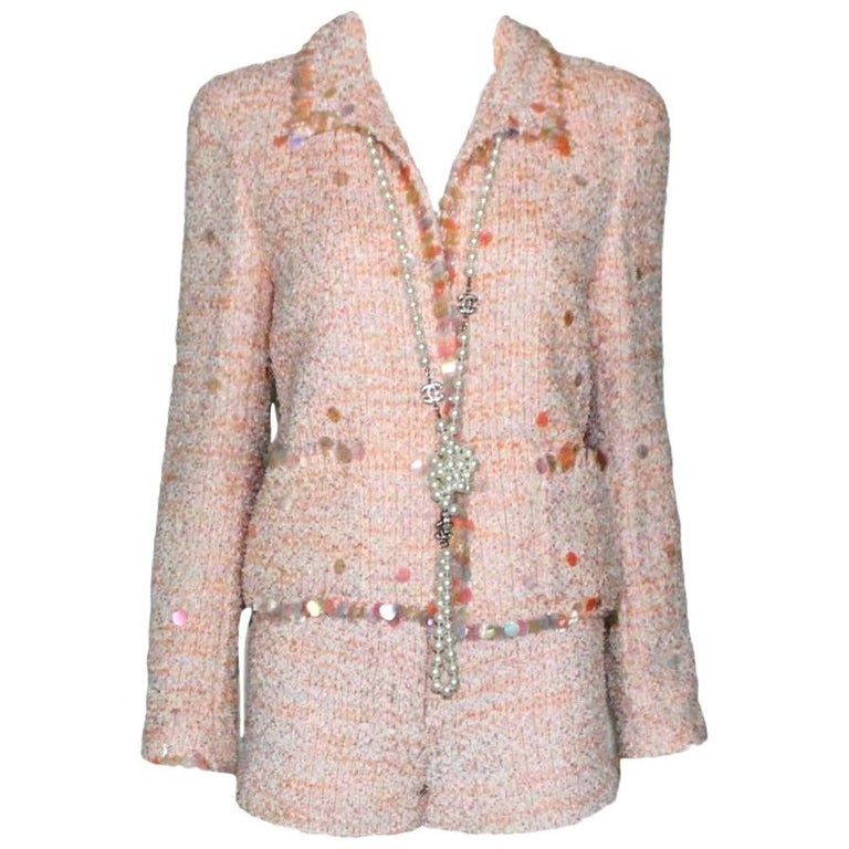 Stunning Chanel Fantasy Tweed Sequins Hot Pants Shorts Suit with CC Logo Buttons For Sale