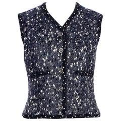 Stunning Chanel Melange CC Logo Button Vest Gilet Jacket