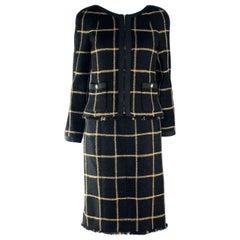 Stunning Chanel Signature Black Metallic Lesage Fantasy Tweed Jacket Dress Suit
