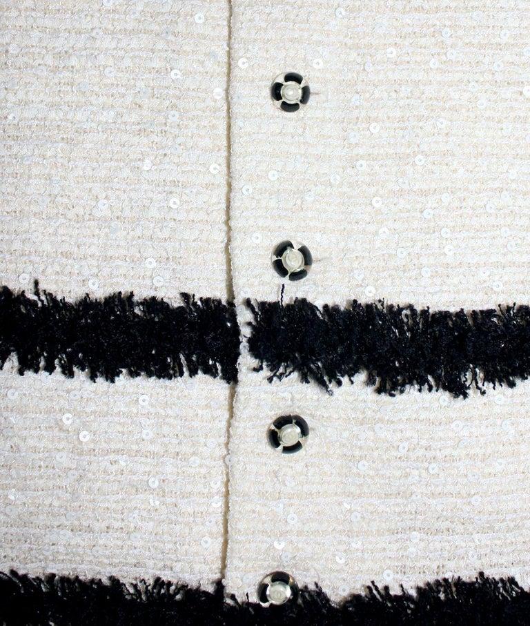 Extraordinary Chanel Signature Monochrome Sequin Fantasy Tweed Jacket For Sale 1