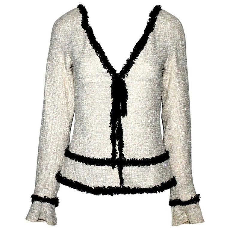 Extraordinary Chanel Signature Monochrome Sequin Fantasy Tweed Jacket For Sale