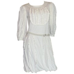 Stunning Chanel White Ruched Dress with CC Logo Buttons
