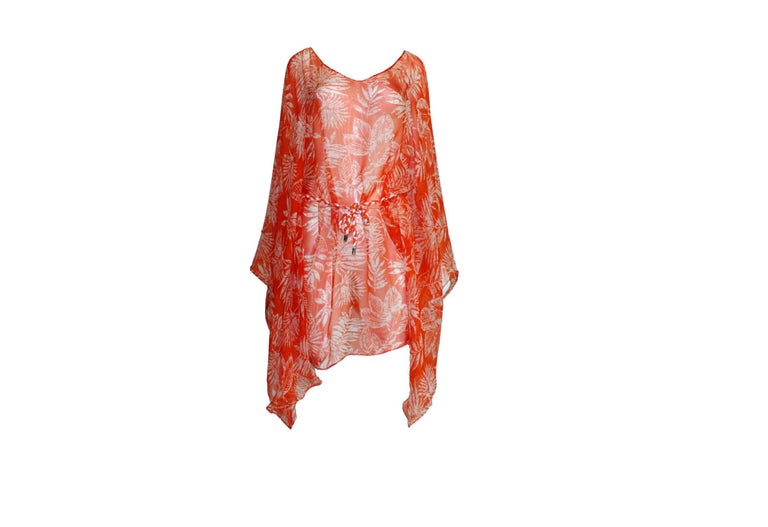 Orange Stunning Christian Dior Belted Silk Tunic Kaftan Dress For Sale
