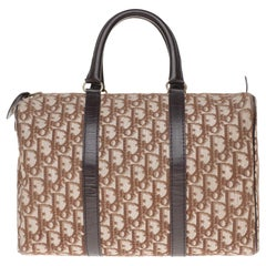 """Stunning Christian Dior """"Boston"""" bowling handbag in brown canvas and leather"""