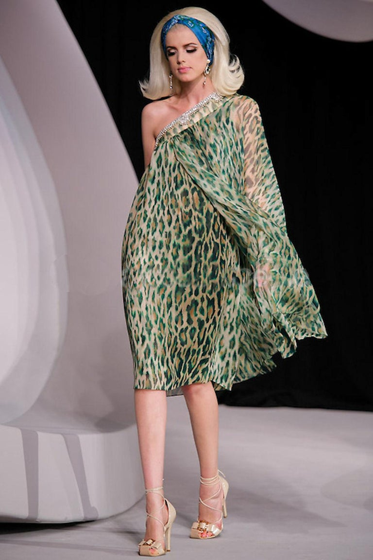 Gray Stunning Christian Dior Embellished One Shoulder Cheetah Signature Dress Gown For Sale