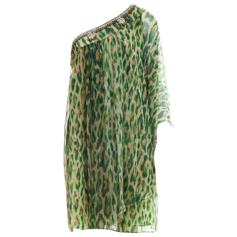 Stunning Christian Dior Embellished One Shoulder Cheetah Signature Dress Gown For Sale