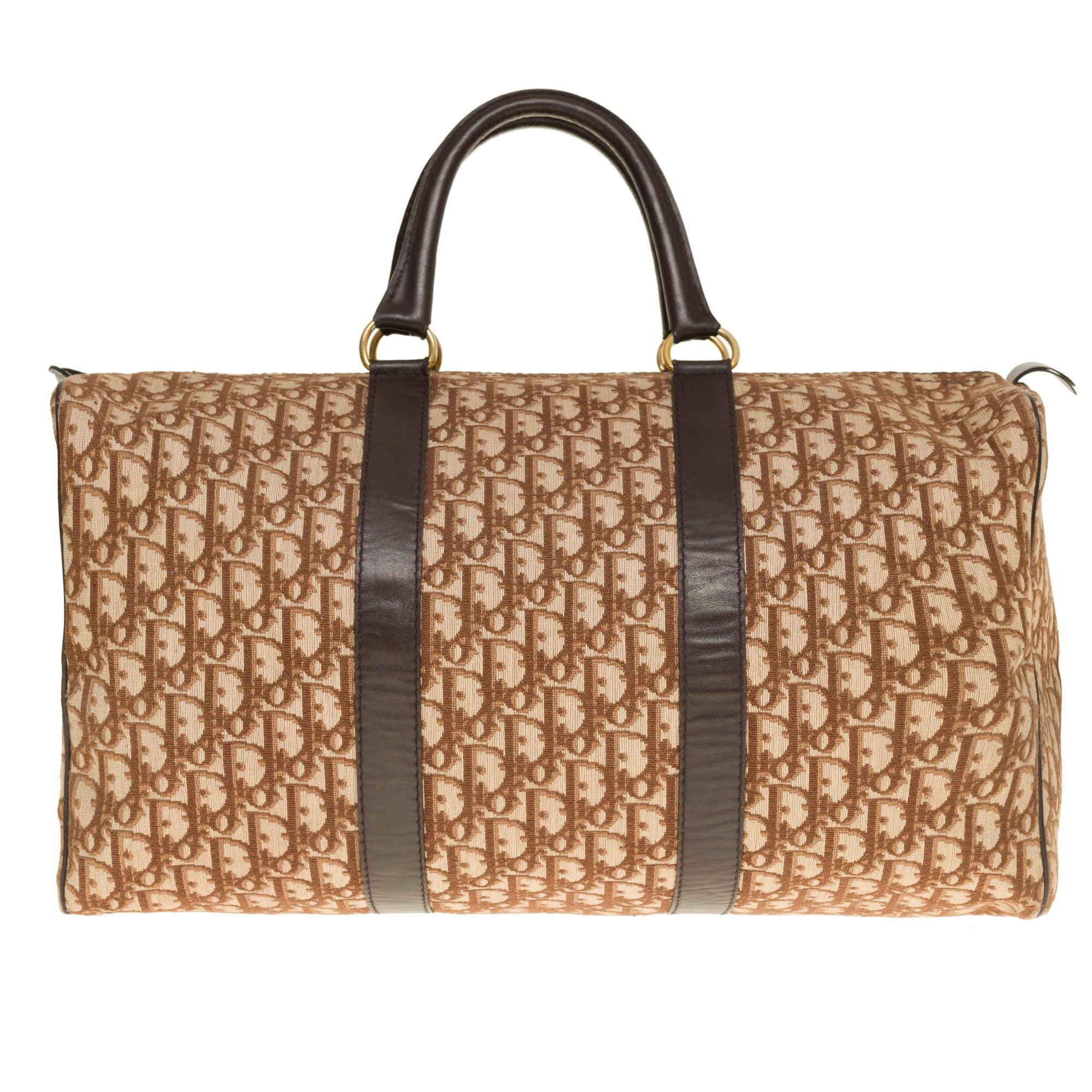 Stunning Christian Dior Travel bag in brown canvas and leather