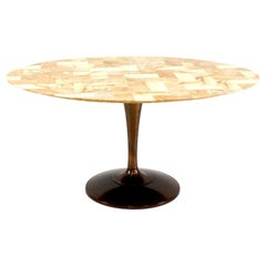 Stunning Chrome Craft Patchwork Top Mid-Century Modern Oval Tulip Based Table
