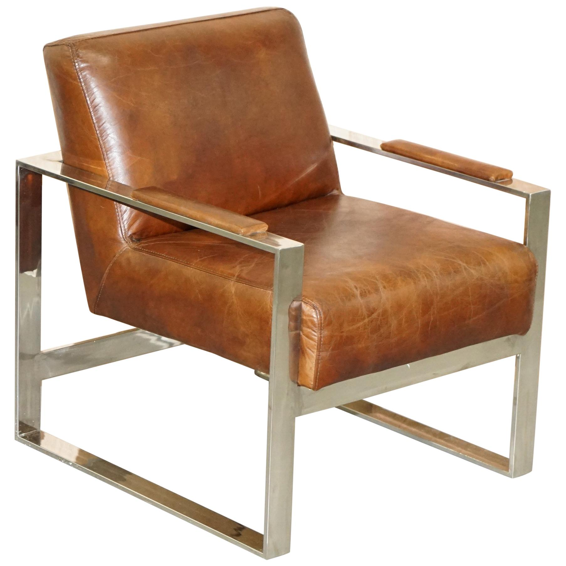 Stunning Chrome & Vintage Brown Heritage Leather Occasional Office Armchair
