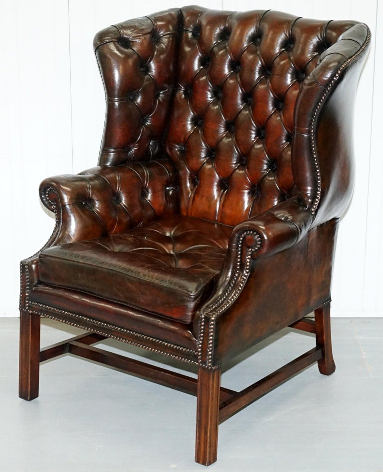 Stunning Cigar Brown Leather Chesterfield Wingback ...