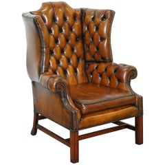 Stunning Cigar Brown Leather Chesterfield Wingback Armchair Double Sided Cushion