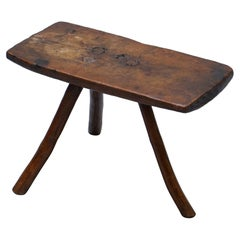Stunning circa 1800 Handmade and Carved Primitive Three-Legged Rectangle Stool