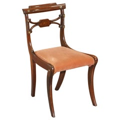 Stunning circa 1810 Regency Flamed Mahogany Dining Chair Ornately Carved Frame