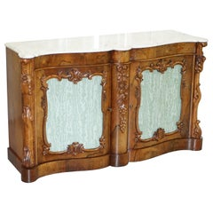 Stunning circa 1850 Rosewood with Veined Carrara Marble Top Sideboard Credenza