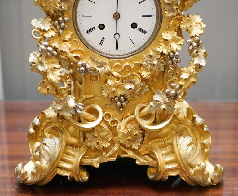 High Victorian Stunning circa 1860 Gold Gilt Bronze French Mantle Clock Large Decorative Piece For Sale