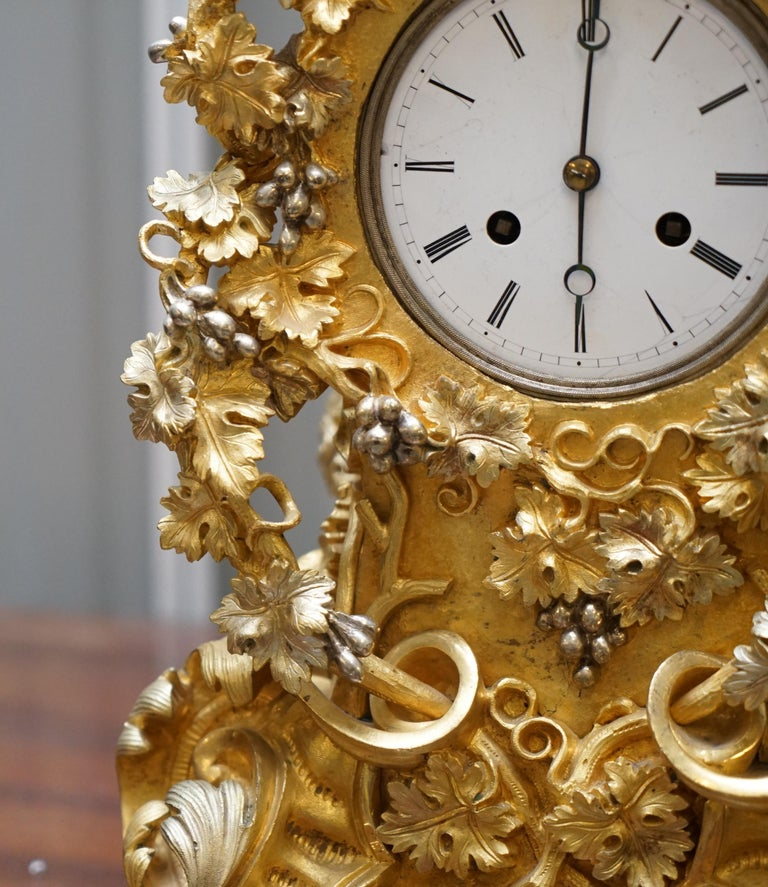 Mid-19th Century Stunning circa 1860 Gold Gilt Bronze French Mantle Clock Large Decorative Piece For Sale