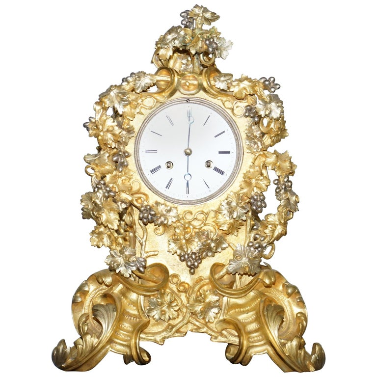 Stunning circa 1860 Gold Gilt Bronze French Mantle Clock Large Decorative Piece For Sale