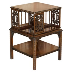 Stunning circa 1880 Antique Thomas Chippendale Revolving Bookcase Library Table