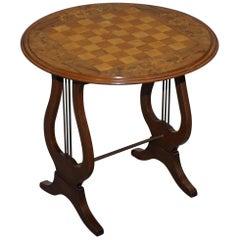 Stunning circa 1890 Walnut Marquetry Inlaid Chess Games Table Biedermeier Base