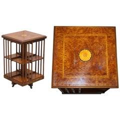 Stunning circa 1900 Edwardian Burr Walnut Revolving Bookcase Sheraton Inlaid