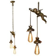 Stunning circa 1920s French Gilt Bronze Cherub Angel Ceiling Light Chandelier