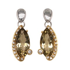 Stunning Citrine and Diamond Drop Earrings Set in 18 Karat Yellow and White Gold