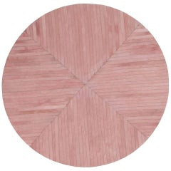 Round Striped Pink Customizable La Quinta Large Cowhide Area Rug