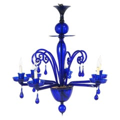 Stunning Cobalt Blue 1960s Murano Glass Chandelier Midcentury Venetian
