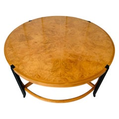 Stunning Coffee Table in Burl Wood and Lacquered Legs