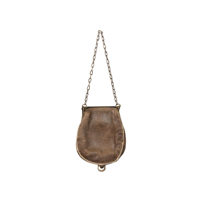 Women's or Men's Stunning Collectible Brass 19th Century Cowgirl Makeup Pouch For Sale