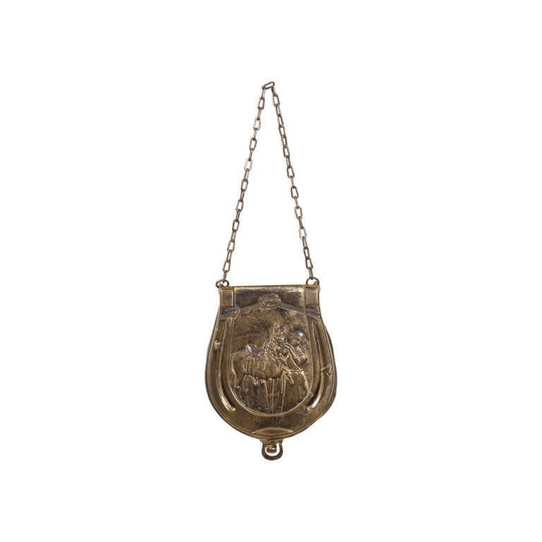 Stunning Collectible Brass 19th Century Cowgirl Makeup Pouch For Sale 1